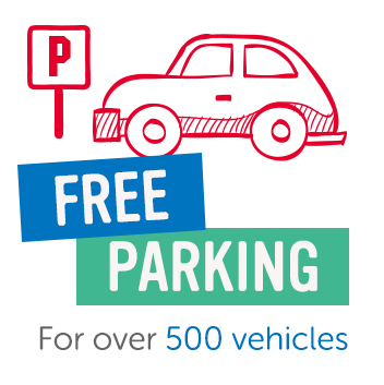 Free parking for over 500 cars