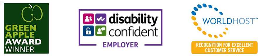 Green Apple Awards, Disability Confident and World Host logos